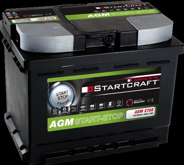 STARTCRAFT BATTERIE AGM START-STOP, 12V / 60AH